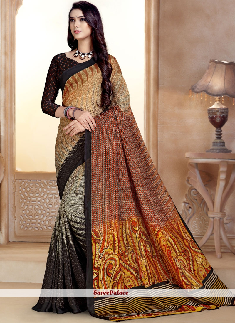 Multi Color Georgette Abstract Printed Saree