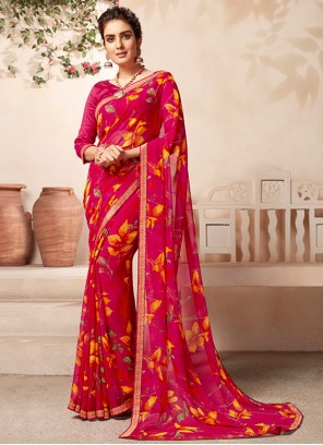 Abstract Print Rani Casual Saree