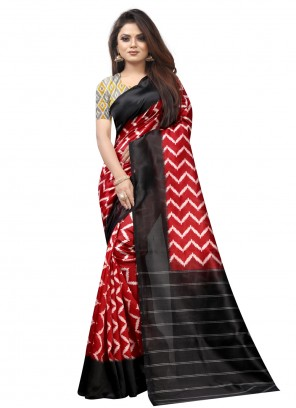 Abstract Print Raw Silk Black and Red Traditional Saree