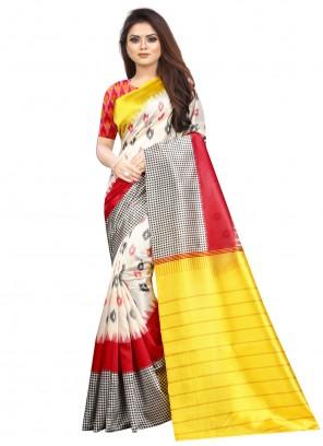 Abstract Print Raw Silk Multi Colour Saree