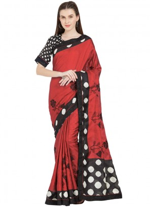 Abstract Print Red Art Silk Casual Saree