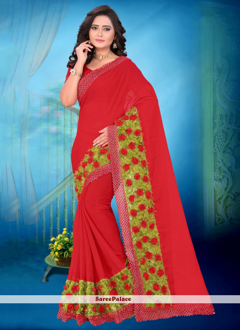 Abstract Print Red Casual Saree