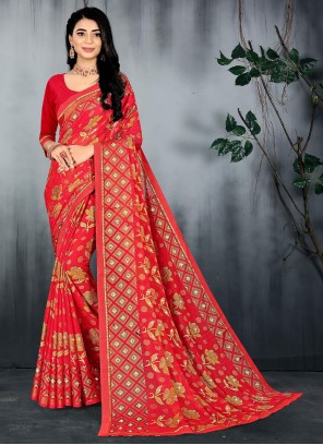 Abstract Print Brasso Red Saree