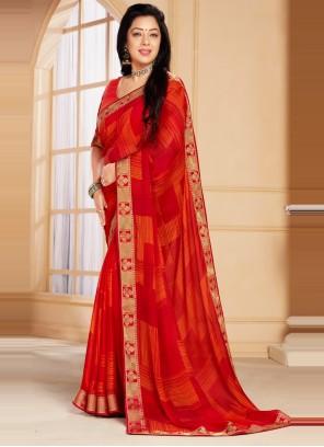 Abstract Print Rupali Ganguly Red Printed Saree