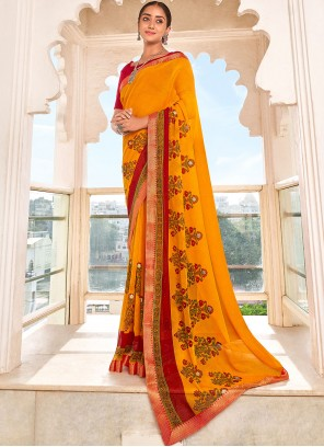 Mustard Faux Georgette Abstract Print Saree