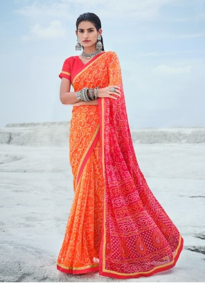 Orange And Pink Abstract Print Faux Georgette Shaded Saree