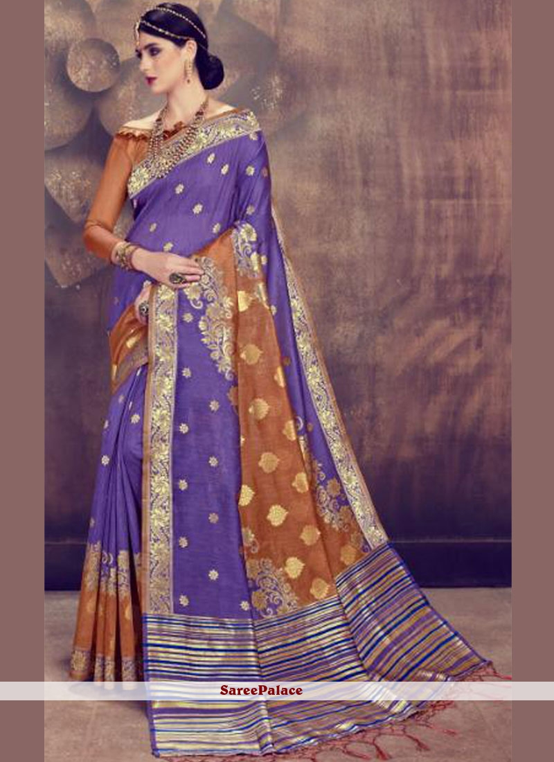 Abstract Print Silk Classic Saree in Maroon and Purple
