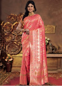 Woven Work Silk Classic Saree in Pink