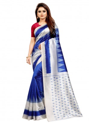 Abstract Print Silk Traditional Saree in Blue