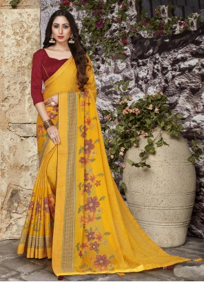 Abstract Print  Tissue Brasso Printed Saree in Yellow