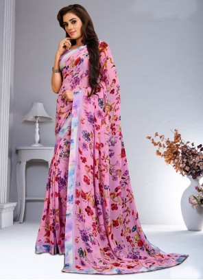 Abstract Print Weight Less Multi Colour Saree