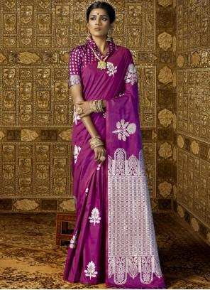 Abstract Print Work Purple Trendy Saree