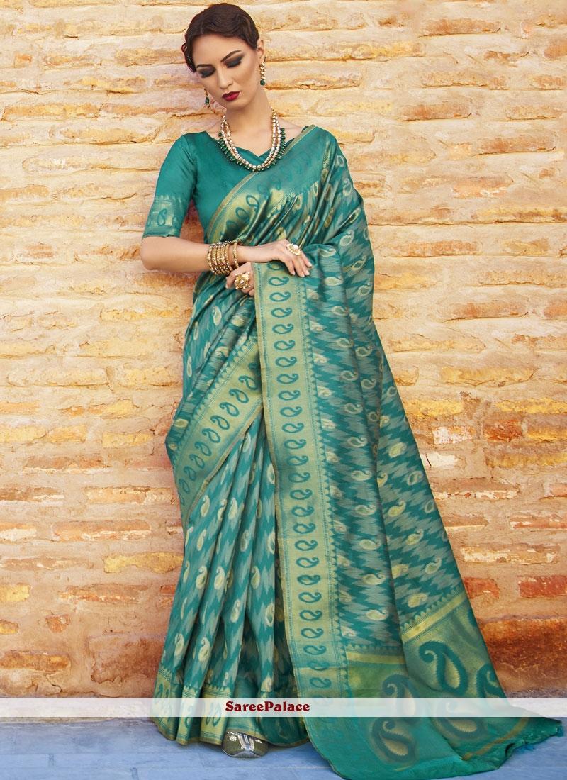 Abstract Print Work Silk Traditional Designer Saree