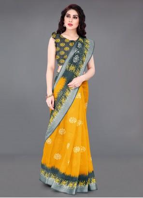 Abstract Print Yellow Saree