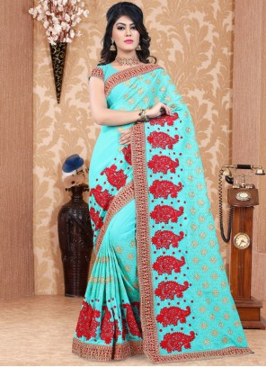 Adorable Embroidered Work Faux Georgette Saree