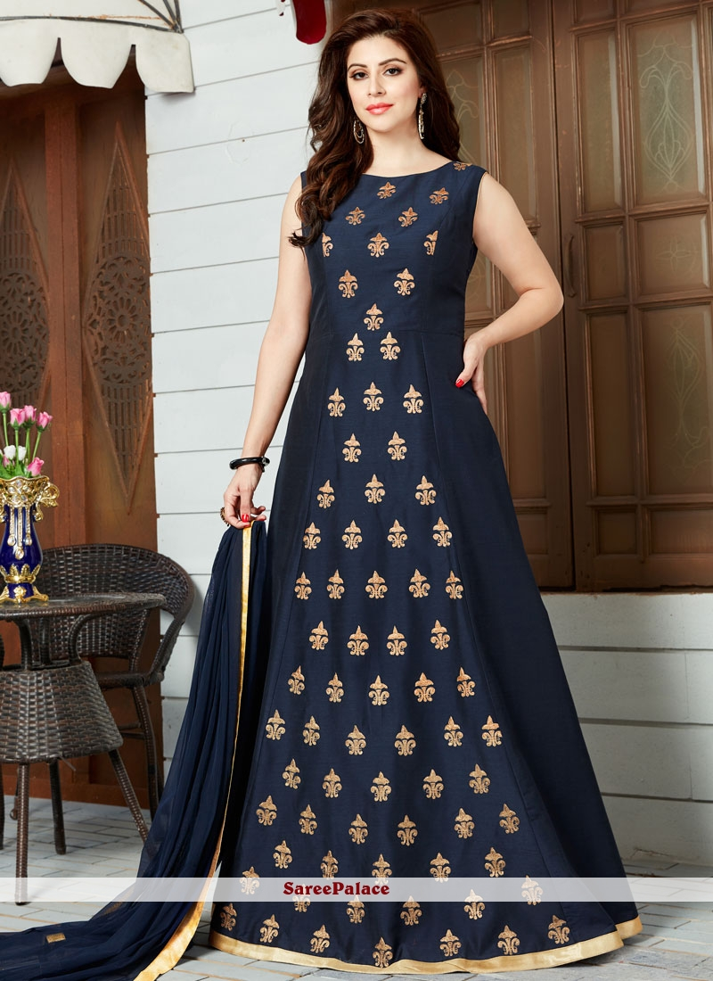 Adorable lace work cotton silk navy blue floor length for Floor length suits