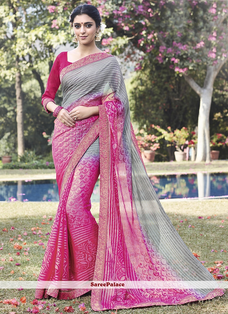 Adorable Lace Work Faux Chiffon Printed Saree