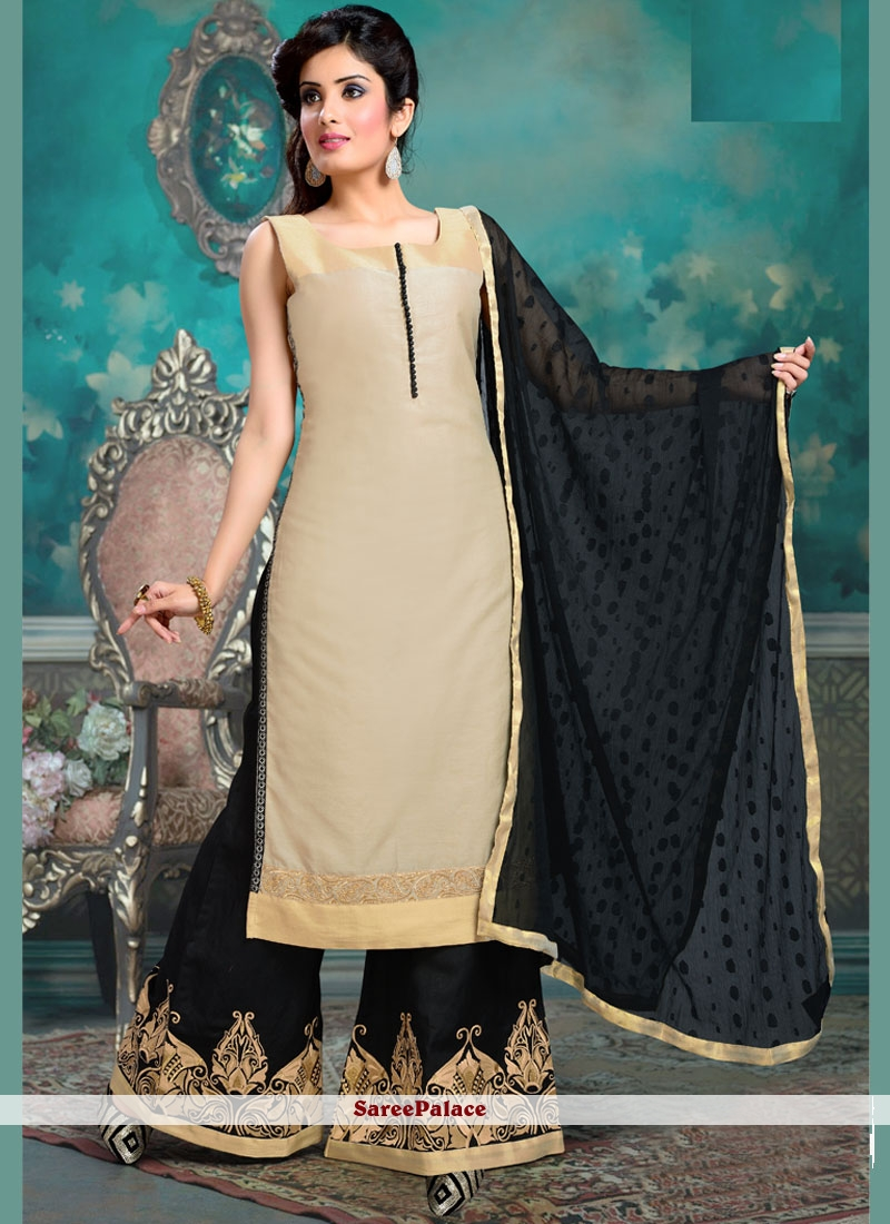 Adorning Cotton Silk Black and Cream Embroidered Work Readymade Suit