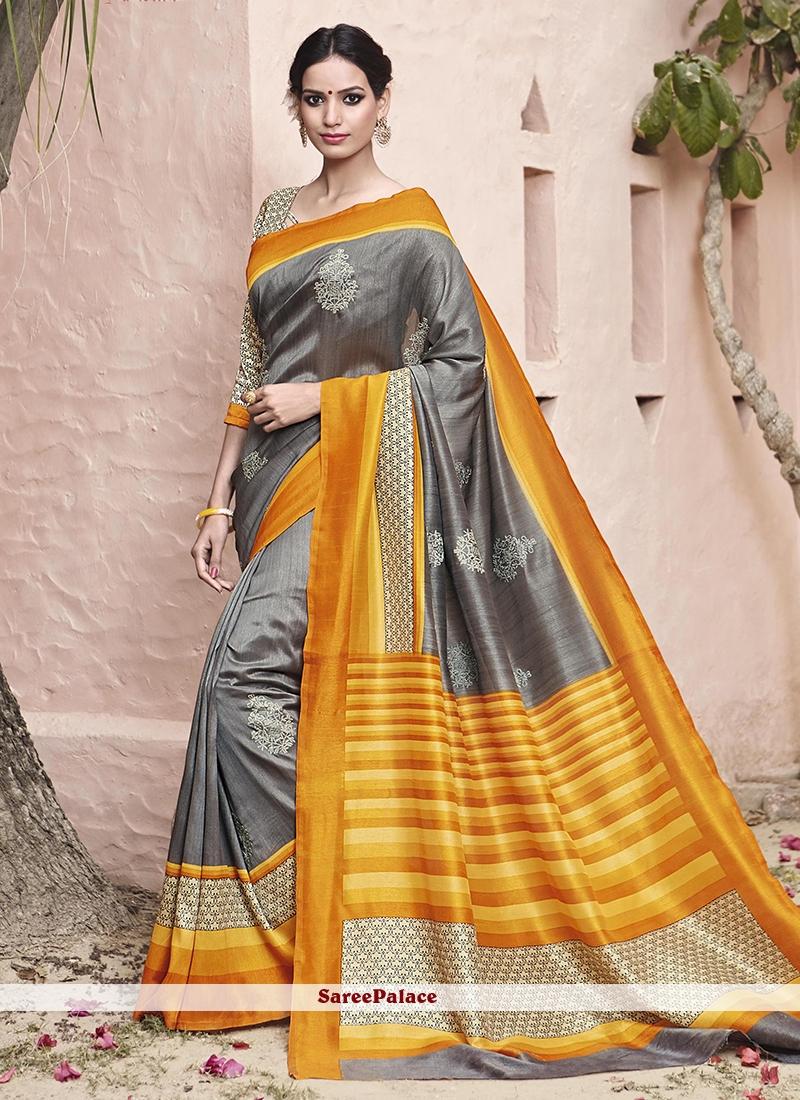 Adorning Grey and Yellow Patch Border Work Art Silk Traditional  Saree