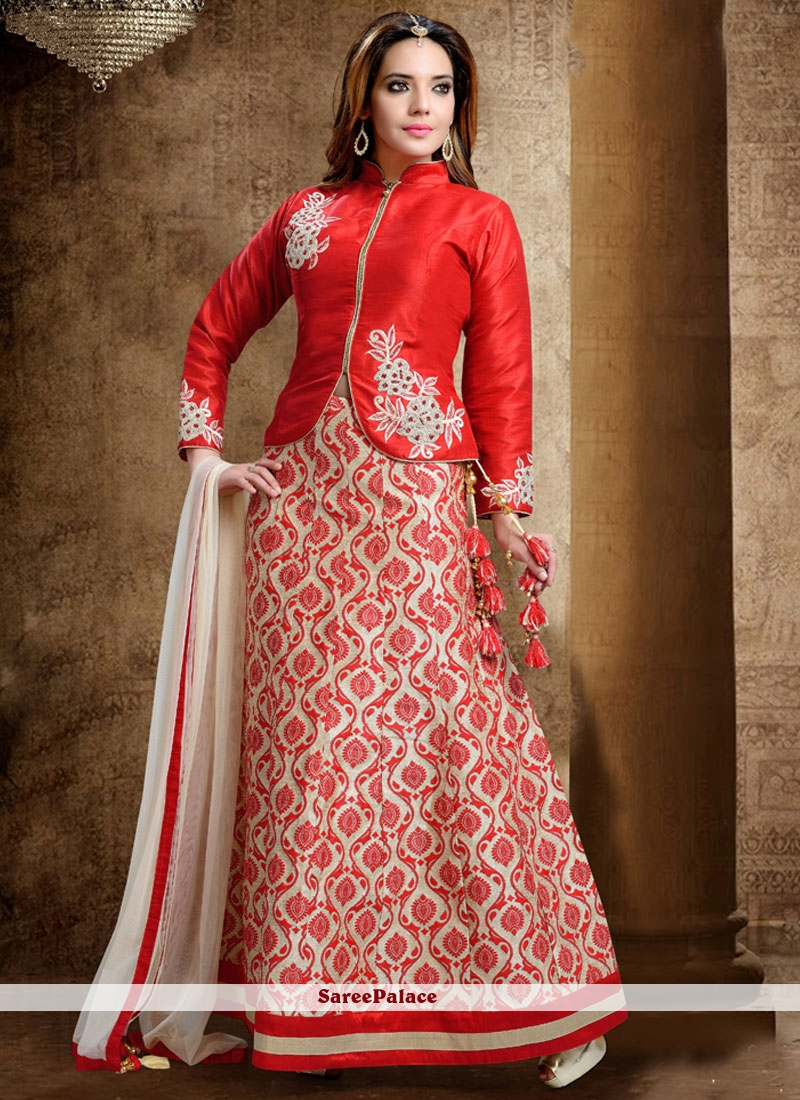 Adorning Red Dupion Silk Lehenga Choli