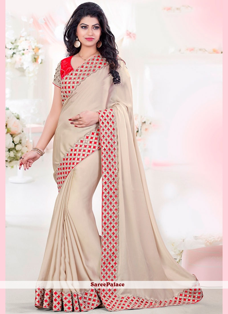 Aesthetic Beige and Red Traditional Designer Saree