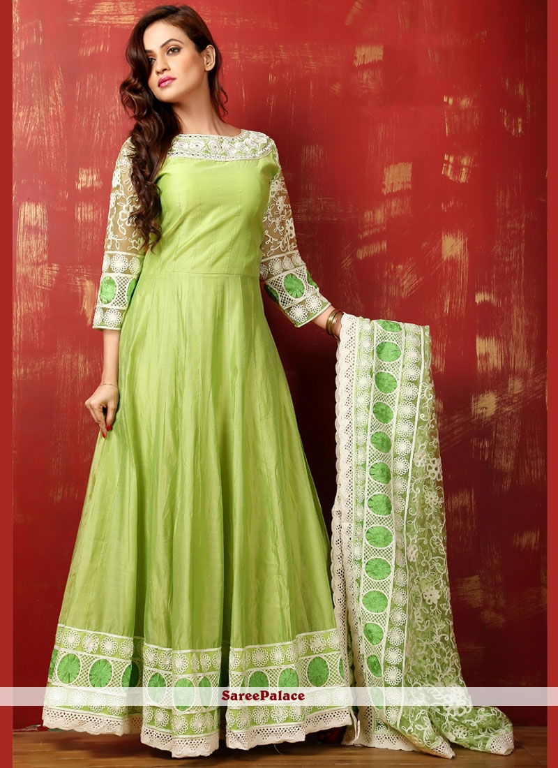 Aesthetic Lace Work Green Art Silk Readymade Anarkali Salwar Suit