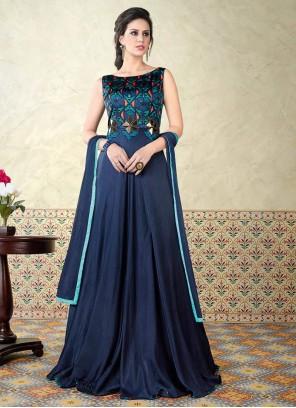 Aesthetic Navy Blue Cotton Satin Floor Length Anarkali Suit