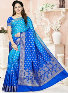 Aesthetic Raw Silk Blue Weaving Work Shaded Saree