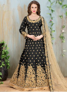 Affectionate Black Art Silk Floor Length Anarkali Suit