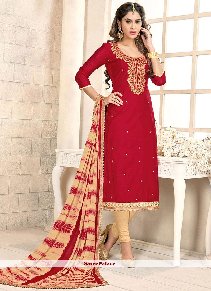 Affectionate Chanderi Cotton Lace Work Churidar Suit