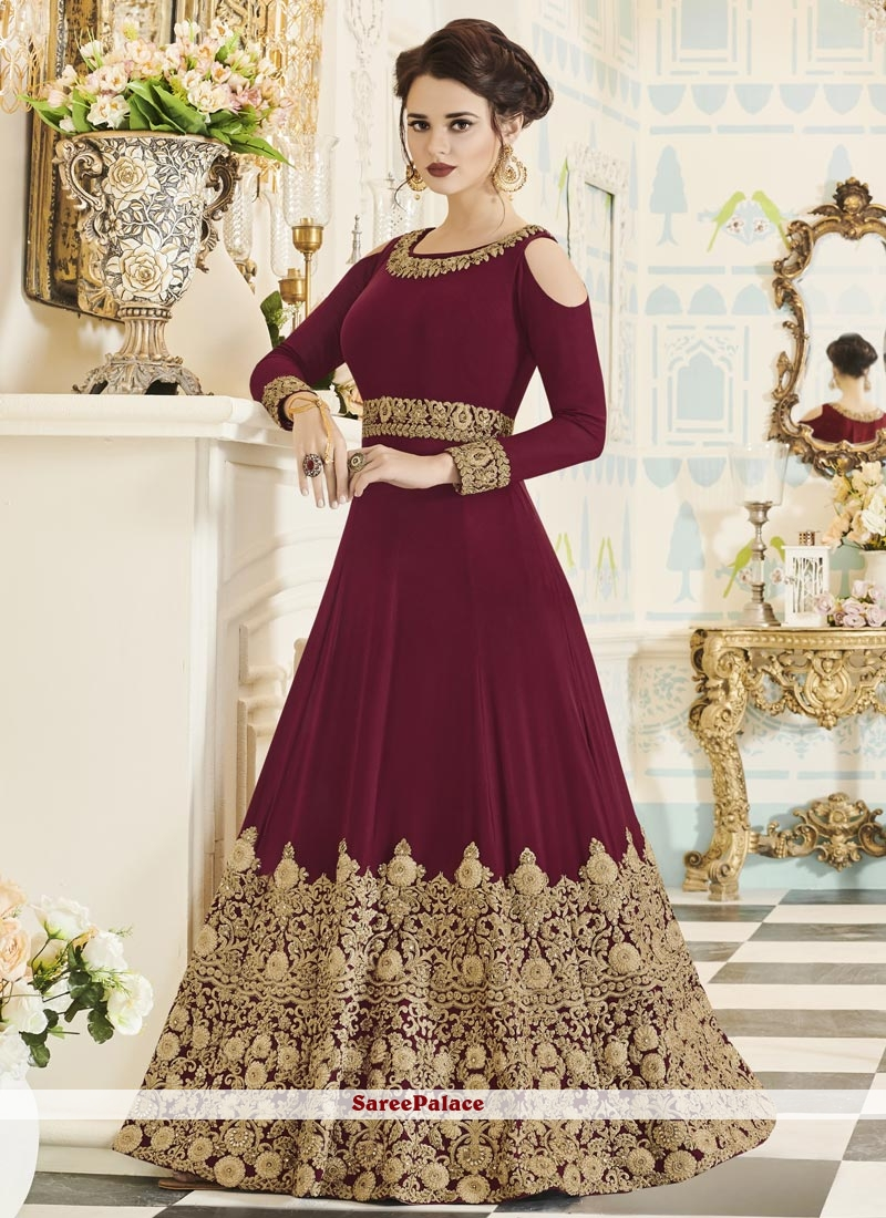 Affectionate Maroon Floor Length Anarkali Suit