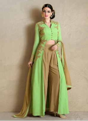 Affectionate Resham Work Green Palazzo Salwar Suit