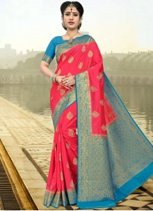 Affectionate Rose Pink Designer Traditional Saree