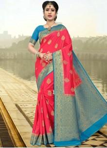 Affectionate Rose Pink Designer Traditional Saree