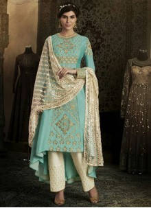 Alluring Embroidered Work Art Silk Designer Suit