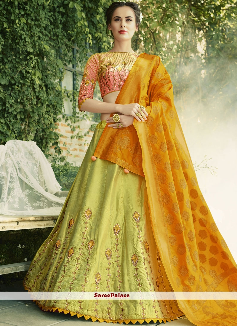 236a892c0b Buy Alluring Embroidered Work Green and Mustard Lehenga Choli Online