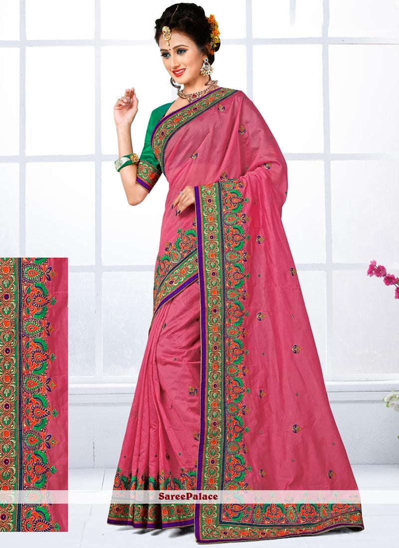 Alluring Pink Patch Border Work Chanderi Designer Traditional Saree