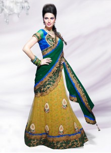 Alluring Yellow And Green Net Lehenga Style Saree