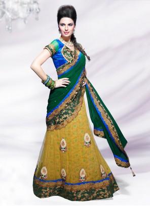 Alluring Yellow And Green Net Lehenga Style Saree