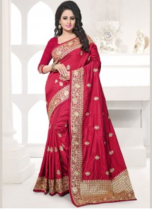 Amazing Art Silk Maroon Embroidered Work Traditional Designer Saree