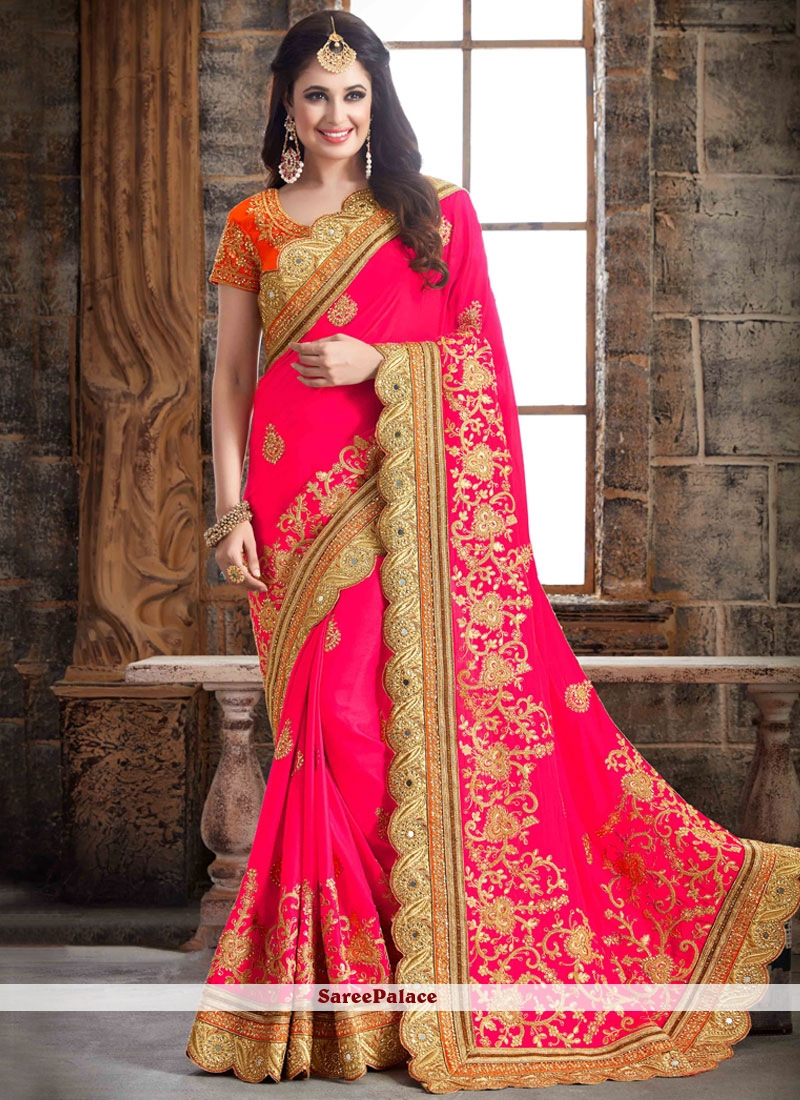 Amazing Crepe Silk Hot Pink Designer Traditional Saree