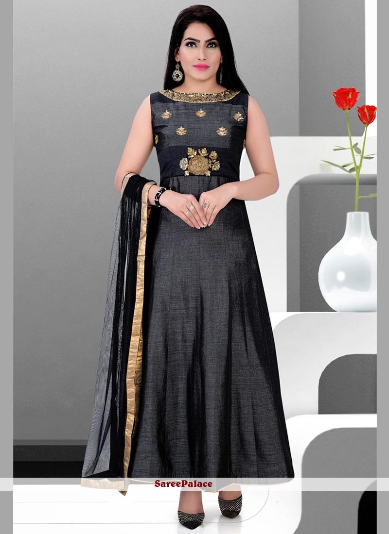 Amazing Dupion Silk Black Readymade Anarkali Salwar Suit