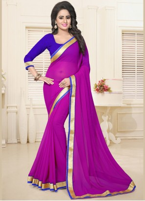 Amazing Faux Georgette Magenta Lace Work Casual Saree
