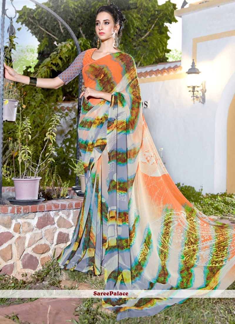 Amazing Georgette Multi Colour Print Work Printed Saree