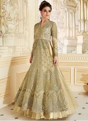 Amazing Green Fancy Fabric Floor Length Anarkali Suit