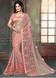 Amazing Pink Embroidered Work Fancy Fabric Designer Saree