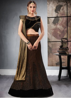 Amusing Black and Brown Lehenga Choli