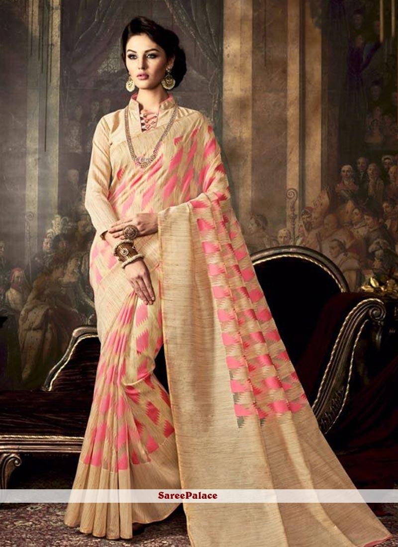 Amusing Peach Weaving Work Art Silk Traditional  Saree