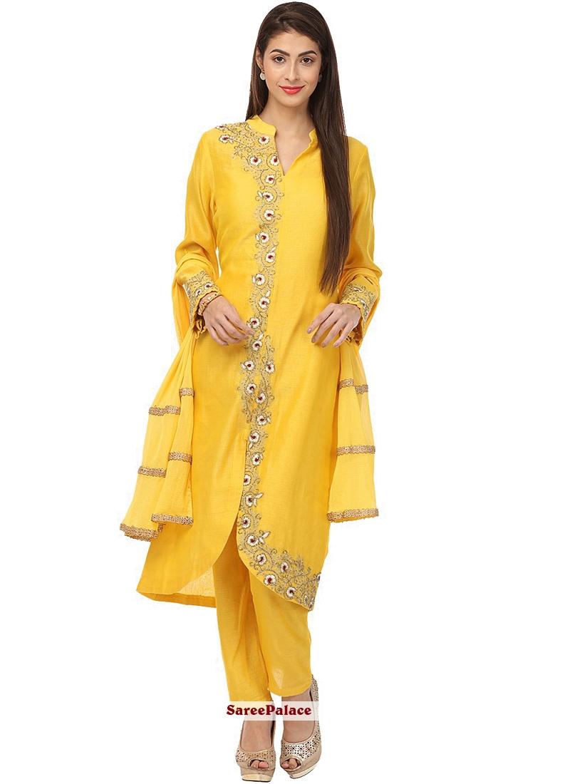 Yellow Anarkali Salwar Kameez For Sangeet