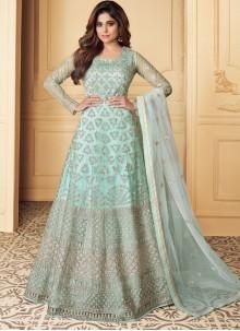Anarkali Salwar Suit Embroidered Net in Aqua Blue